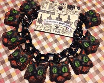 BRACELET - JUST CATS Halloween Charm Necklace - Novelty Jewelry Costume - Resin Plastic Fakelite - Retro Vintage Primitive