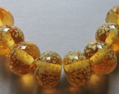 Custom Beads for Susan. Glass Lampwork Amber Yellow Handmade Beads Ericabeads Curry Spice (8)