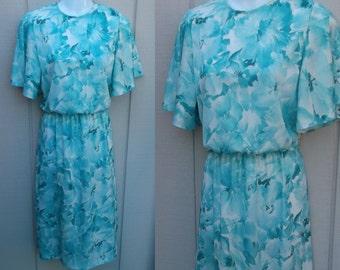 vintage 70s Blue Floral Flutter Sleeve SECRETARY DRESS // Ladies sz Sml - Med
