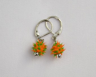 Orange & Green Spike Bead Earrings