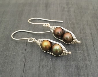 Mothers day gift // Pea pod earrings //  Two peas in a pod with bronze forest green fresh water pearls   Pea pod jewelry, twin jewelry
