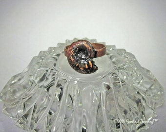 Electroform Ammonite Ring - Electroformed Shell Ring - Fossil Shell- Copper Ring - Large Size Statement Ring - Sz  10 - Mermaid - Boho