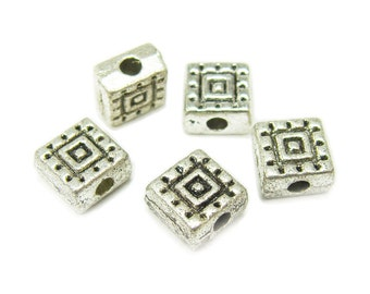Bali Style Pewter Square Beads