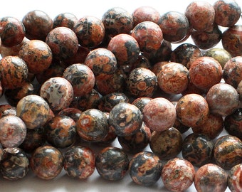 Red Leopard Skin Jasper Round Gemstone Beads