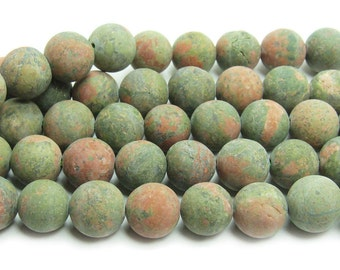 Unakite Matte Gemstone Beads