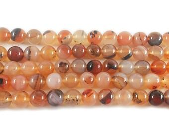 Striped Red Agate Round Gemstone Beads