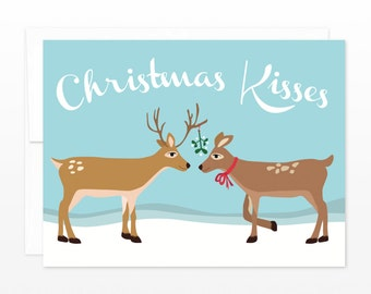 Cute Christmas Reindeer Kisses Mistletoe Holiday Greeting Card, for wife, card for husband, card for boyfriend, card for girlfriend