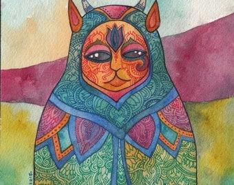 Moon Priestess Original Watercolor by Megan Noel
