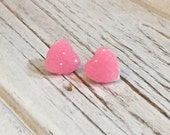 Pink Sparkly Heart Studs, Sparkle Heart Studs, Kawaii Studs, Sugar Coated Candy Heart Studs, Little Heart Studs, Valentine's Day Stud