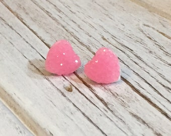 Pink Sparkly Heart Studs, Sparkle Heart Studs, Kawaii Studs, Sugar Coated Candy Heart Studs, Little Heart Studs, Valentine's Day Stud (SE4)