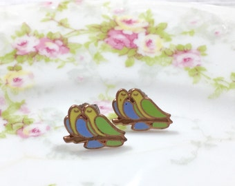 Dove Lovebird Studs, Love Bird Stud Earrings, Vintage Enameled Metal Studs, Nature Lover Stud Earrings, Kissing Bird Studs, KreatedbyKelly
