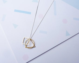 Convex Necklace- Delicate Sterling Silver Triangle, Circle and Square Necklace Geometric Charms
