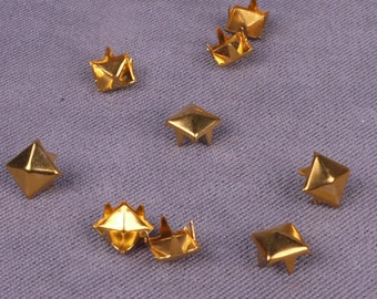 Gold Metal Pyramid Square Stud 6mm - 250 Pieces (MS6GOPDS-250)