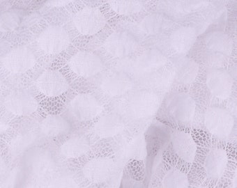 """Dotted White Lace Mesh - 45"""" Wide - 1 Yard (PV-897)"""
