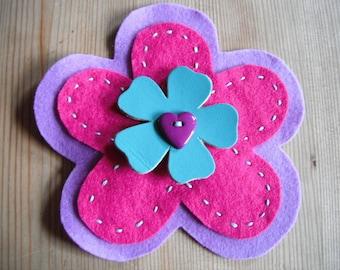 Colour Burst Flower Brooch in Pink
