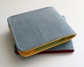 Mens Wallet / Super Thin Minimalist Billfold Wallet / Light Grey Vegan Herringbone / Vegan Wallet
