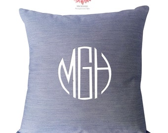 Monogrammed Pillow, Monogrammed Pillow Cover, Blue Pillow Cover, Pillow for Boys, Striped Pillow Cover, Preppy Monogrammed Pillow