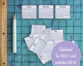 2017 Mini Calendars for Crafts and Planners, Mini Monthly Calendar, Digital Download Printable, Instant Download Calendar PDF, 2017 Calendar