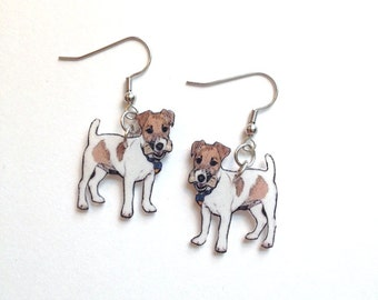 Handcrafted Plastic Jack Russell Dog Dangle Earrings