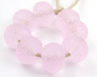 Sugared Rose Quartz - Handmade Artisan Lampwork Glass Beads 8mmx12mm - Transparent, Pink - SRA (Set of 8 Beads)