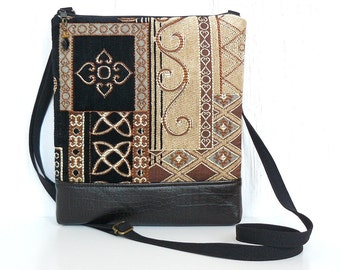 Tapestry Crossbody Purse, Sling Bag, Black Cross Body Bag - Alhambra in Black, Gold, Gray and Rust