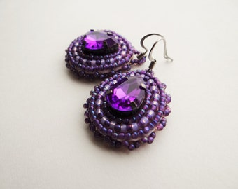 Purple Rhinestone Beaded Earrings
