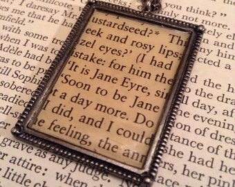 Jane Eyre Necklace, Literary Jewelry, Recycled Book Necklace, Charlotte Bronte