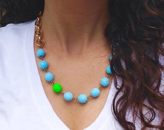 Green Neon Statement Necklace, Blue Statement Necklace, Neon Necklace, Green Necklace, Blue Necklace, Neon Green Statement Necklace