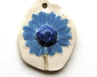 Rustic Ceramic Daisy Pendant with Blue Petals   Statement Size by Mary Harding