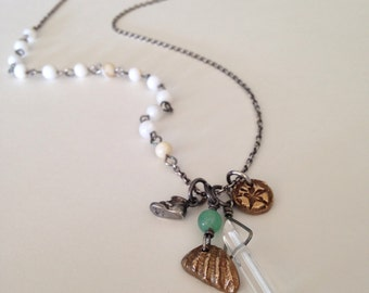 Boho Beach MOM Necklace with Ocean Treasures Sterling Silver And Bronze