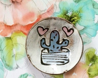 Ceramic spoon rest - cactus and hearts - modern pottery dish pink blue brown rustic white - handmade ceramic spoonrest dish