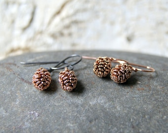 Antiqued Rose Gold Pine Cone Earrings - Pine Cone Earrings - Pinecone Earrings - Woodland Fashion - Nature Inspired - Boho Chic -