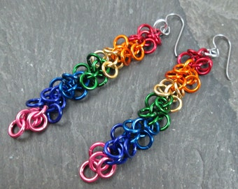 Chainmaille Earrings - Rainbow Earrings - Rainbow Chainmaille - Chainmail Jewelry - Rainbow Jewelry