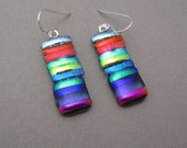 Rainbow patchwork dichroic glass earrings Sterling Silver ear wires multi-color tiny strips translucent glass jewelry  fused glass earrings