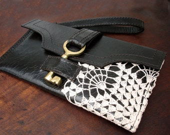 Dark Brown Leather Boho Wristlet with Vintage Brass Keys and Crochet Lace - Checkbook Wallet Credit Card - Zipper Pocket