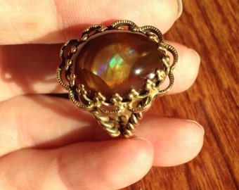 Absolutely OOAK Old Germany filigree setting ring with calibrated high grade fire agate.