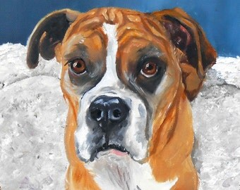 Custom Boxer Dog Portrait Painting Animal Art
