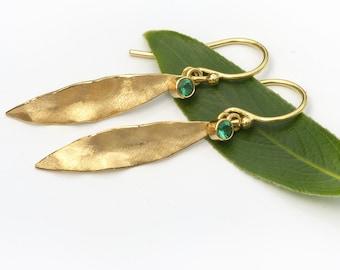 Emerald Leaf Earrings in 18k Gold