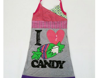 Size 12 (57 1/2 inch) upcycled dress I love candy