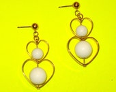 Vintage 1960s Gold and White Heart Bauble Beaded Dangle Drop Earrings