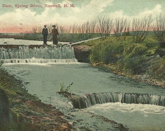 Vintage 1910s Postcard New Mexico Roswell Spring River Dam Nature Out for a Walk Hand Colored Divided Back Era Postmarked