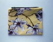 Yellow Fabric Floral Zipper Pouch, cord cozy, clutch bag, purse organizer, travel accessory,  fabric bag, linen blend, Botanical Print Pouch