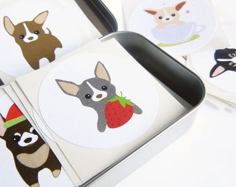 Chee-S the Chihuahua Puppy Stickers STKX008 ( Set of 100 randomly picked ), 2 inch circle sticker labels, mix designs