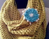 Lemongrass Infinity Cowl Crochet Neck Warmer Mobius Endless Scarf with Turquoise Flower Brooch