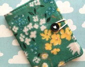 Seafoam Green - Pocket Pouch - Small on the go - Business Card Holder / ID Case / Photo Holder - Floral Meadows