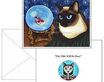 Siamese Cat Cards Seal Point Siamese Cat Fantasy Cat Art 2 Note Cards Set Cat Lovers Gift
