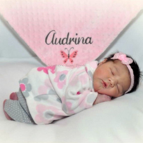 Baby Girl Blanket. Personalized Baby Blanket for Baby Girl, Gray and Pink Baby Blanket, Butterfly Embroidery, Baby Gift , Photo Prop, 30x36