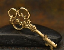 Natural Bronze victorian style key charm - key pendant to make your own necklace - diy jewelry - key to your heart - secret key