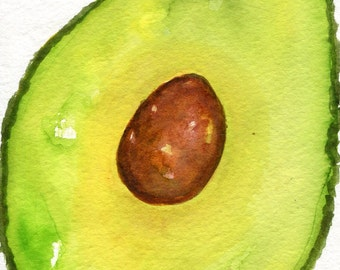 Avocado watercolor painting Original 4 x 6, culinary watercolor, kitchen decor, green food art, SharonFosterArt