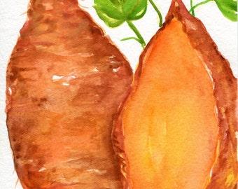 Sweet Potatoes watercolors paintings original, kitchen decor, original watercolor painting  sweet potatoes, 5 x 7, vegetable watercolor, art